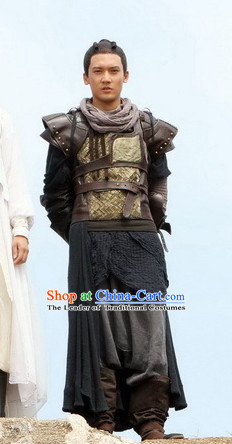 Ancient Chinese Style Male Warrior Body Armor Costumes Dress Authentic Clothes Culture Traditional National Clothing Complete Set