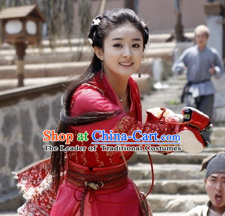 Traditional Chinese Cute Girl Black Wig and Hair Accessories Complete Set