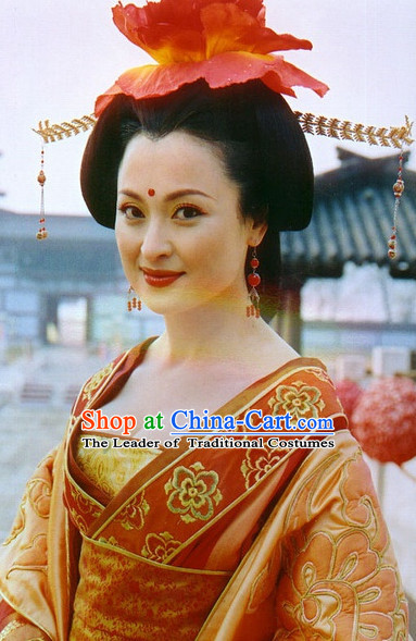 Traditional Ancient Asian Chinese Style Princess Black Wig and Hair Accessories Hairpin Headwear Complete Set