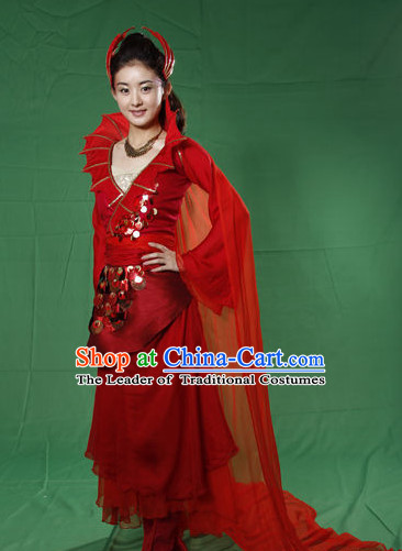 Traditional Chinese Style Red Fantasy Wedding Dress and Hair Jewelry Complete Set for Women