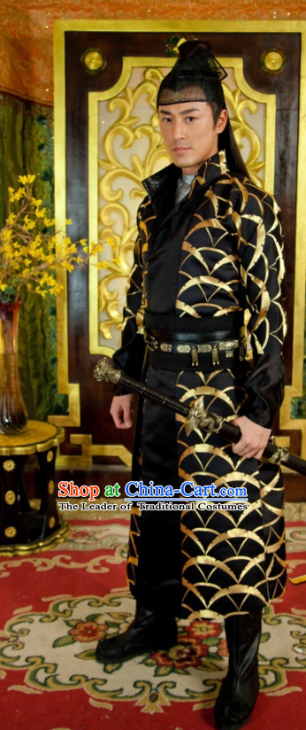 Traditional Chinese Style Wuxia Fighter Clothing Complete Set for Men