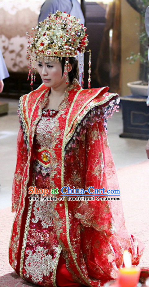 Traditional Chinese Ancient Style Princess Wedding Dresses Clothing and Phoenix Hat Complete Set for Women