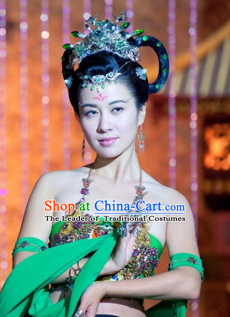 Traditional Ancient Chinese Style Black Full Wigs and Hair Jewelry for Women