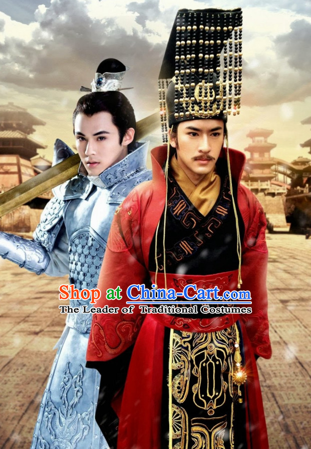 Ancient Chinese Style Emperor Costumes Complete Set for Men Boys