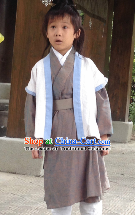 Chinese Kids Peasant Costume Hanfu Dress Clothing National Dress Ancient China Clothing Traditional Chinese Outfit Chinese Costumes and Headwear Complete Set for Brides