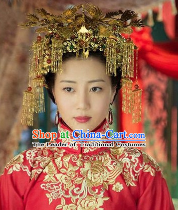 Chinese Traditional Bridal Hair Accessories Hair Sticks Hair Ornaments Chopsticks Gold Hair Pins Hairsticks Oriental Asian Head Jewellery Hair Clips Hair pIeces Hair Style
