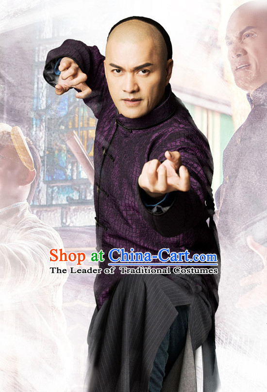 Traditional Chinese Style Mandarin Long Kung Fu Robe Complete Set for Men