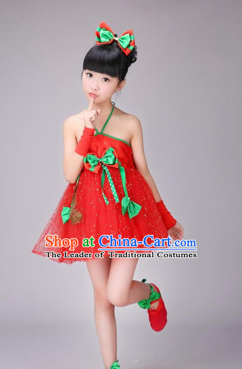 Chinese Fan Dance Costume and Headdress for Women Girls