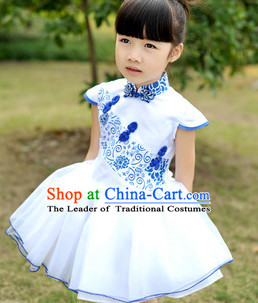 Traditional Chinese Classical Group Dance Dancing Costumes Complete Set for Girls