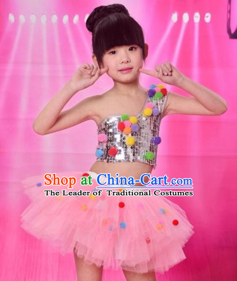 Chinese Cute Group Dance Dancing Costumes Complete Set for Girls