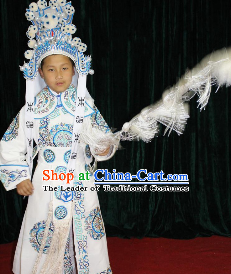 Chinese Opera Wusheng Embroidery Costume and Hat Complete Set for Children Boys