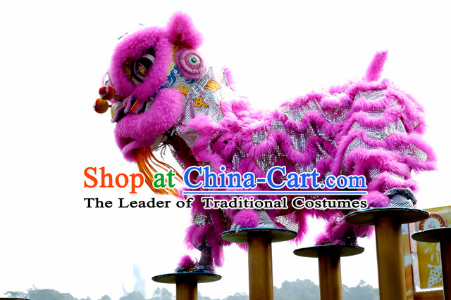 Purple Top Chinese Traditional Lion Dance Costumes Complete Set