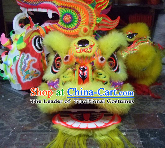 Top Yellow Chinese Classic 100% Natural Long Wool Fut San Style Lion Dance Costumes Complete Set