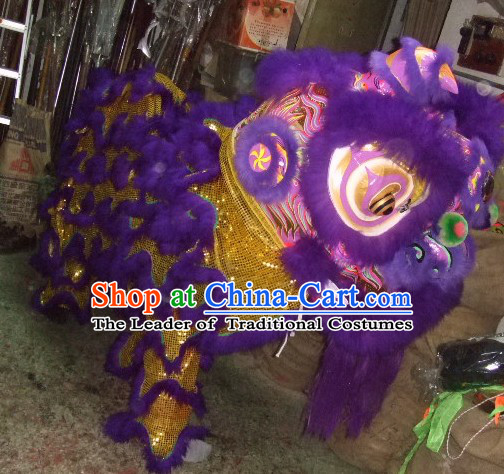 Top Purple Chinese Traditional 100_ Natural Long Futsan Style Lion Dance Costumes Complete Set
