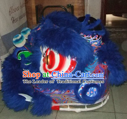 Top Deep Blue 100% Natural Long Wool Chinese Traditional Futsan Style Lion Dancing Uniforms Complete Set