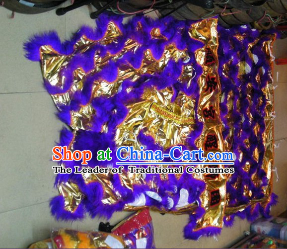 Chinese Traditional 100_ Natural Long Wool Lion Dance Tail Pants Claws Set