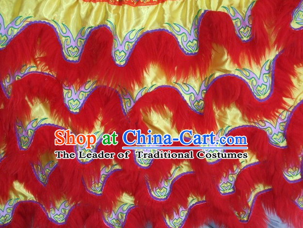 Chinese Traditional 100_ Natural Long Wool Lion Dancing Embroidered Body Costumes Pants Claws Set
