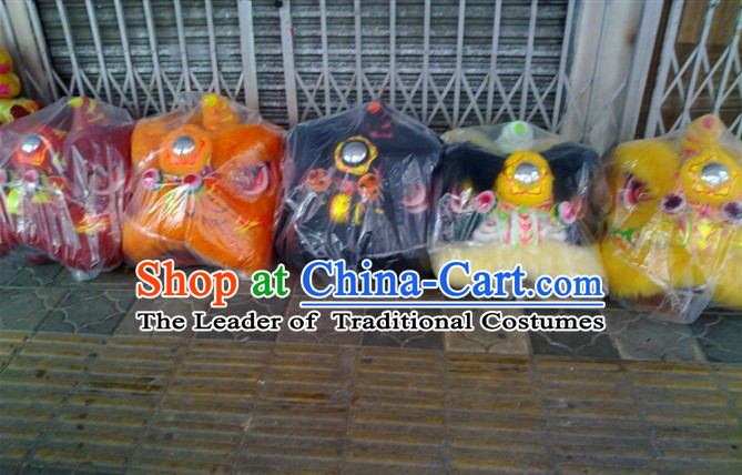 Top Teenagers Chinese Classical 100_ Natural Long Wool Fut San Lion Dance Costume Complete Set