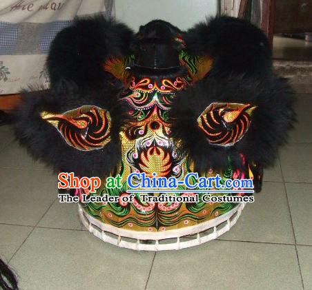 Top Black Teenagers Students Chinese Classical 100% Natural Long Wool Fut San Lion Dance Costumes Complete Set