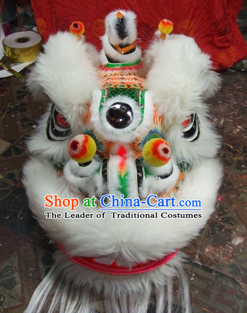 Top White Long Wool Ancient Chinese Traditional Hok Han Style Lion Dance Costumes Complete Set