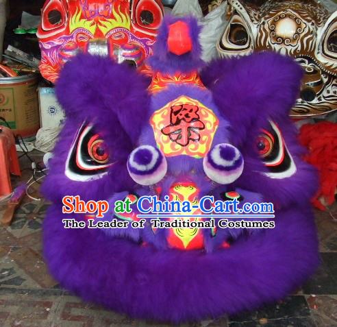 Purple Top Asian Chinese Lion Dance Troupe Performance Suppliers Pants Equipments Art Instruments Lion Tail Costume Complete Set for Adult Baby Children