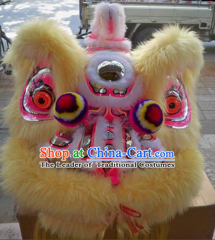 Top Beige Long Wool Ancient Chinese Traditional Lion Dance Costumes Complete Set