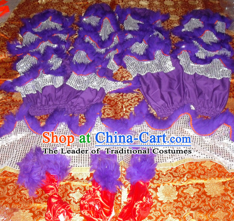Purple Top Asian Chinese Lion Dance Troupe Performance Suppliers Pants and Claws