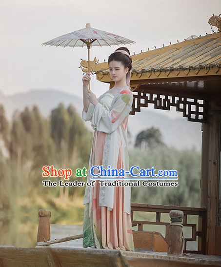 Ancient Chinese Clothing Garment and Hair Accessories Complete Set for Women