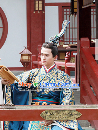 Ancient Chinese Prince Imperial Palace Ceremony Attire Costumes Garments and Crown Complete Set for Men