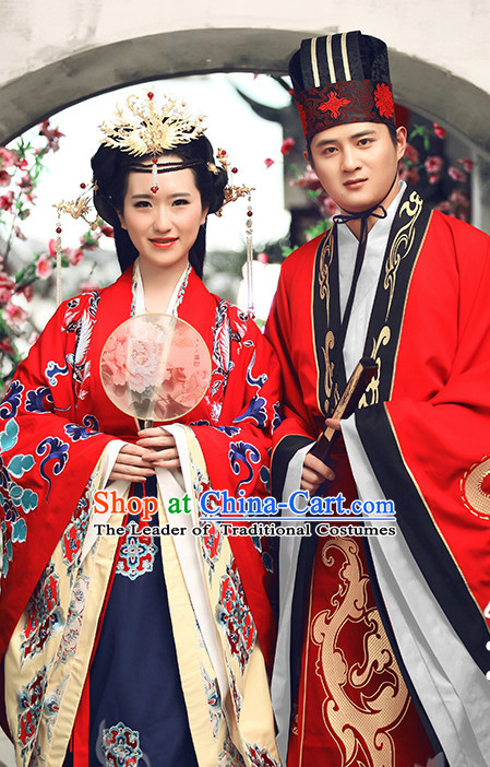 Ancient Chinese Clothing Dress Garment and Hat Complete Set for Men and Women