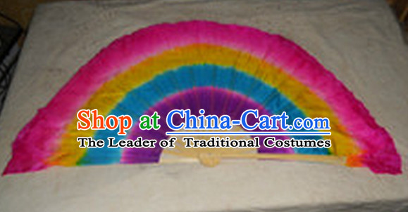 Pure Silk Chinese Color Transition Long Silk Dance Fan