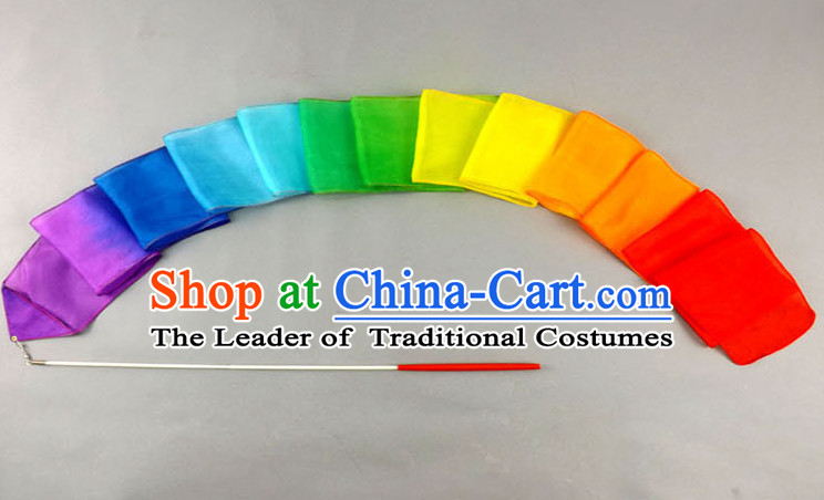 4 Meters Long Pure Silk Handmade Rainbow Color Dance Ribbon