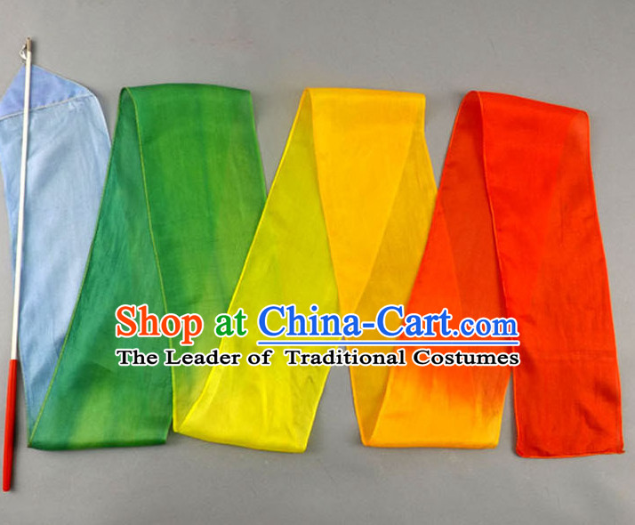 Top 3 Meters Pure Silk Colour Change Color Changing Colour Transition Dance Ribbon Dancing Ribbons for Adults or Kids