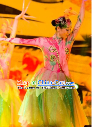 Chinese Classical Dancing Suits Dancewear Costumes Dancer Costumes Girls Dance Costumes Chinese Dance Clothes Traditional Chinese Clothes and Headwear Complete Set