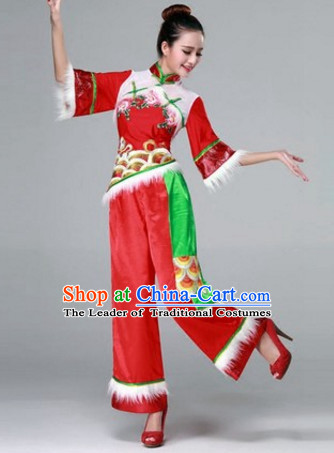 High Collar Chinese Stage Folk Fan Dancing Dancewear Costumes Dancer Costumes Dance Costumes Chinese Dance Clothes Traditional Chinese Clothes Complete Set for Women Children