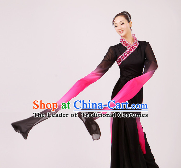 Chinese Traditional Stage Long Sleeves Dance Dancewear Costumes Dancer Costumes Dance Costumes Clothes and Headdress Complete Set for Girls Ladies
