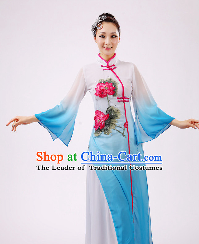 Chinese Traditional Stage Dance Dancewear Costumes Dancer Costumes Dance Costumes Clothes and Headdress Complete Set for Girls Ladies