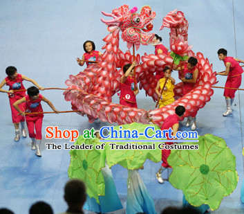 Most Beautiful Best Handmade Supreme Chinese Dragon Dance Costumes Complete Set