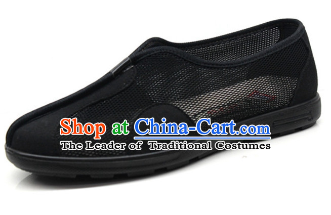 Top Black Chinese Traditional Summer Wear Tai Chi Shoes Kung Fu Shoes Martial Arts Shoes for Men