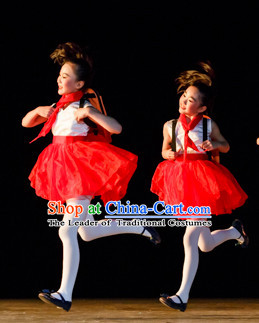 Chinese Primary School Students Dance Costumes Complete Set for Kids Girls