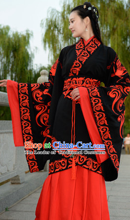 Top Chinese Han Dynasty Beauty Princess Wedding Hanfu Clothing Chinese Hanfu Costume Hanfu Dress Ancient Chinese Costumes and Hair Jewelry Complete Set for Women Girls Children