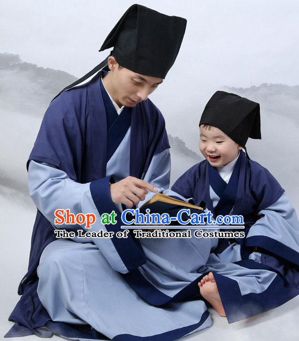 Top Chinese Han Dynasty Male Hanfu Clothing Chinese Hanfu Costume Hanfu Dress Ancient Chinese Costumes and Hat Complete Set for Men Boys Children