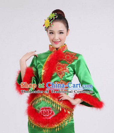 Chinese Folk Dance Costumes Traditional Chinese Fan Dancing Costume Ribbon Dancewear and Headwear Complete Set for Women Girls or Kids