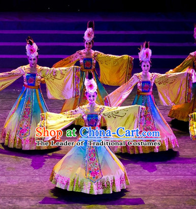 Chinese Ancient Palace Dancer Classical Dancing Costumes and Headwear Complete Set for Women