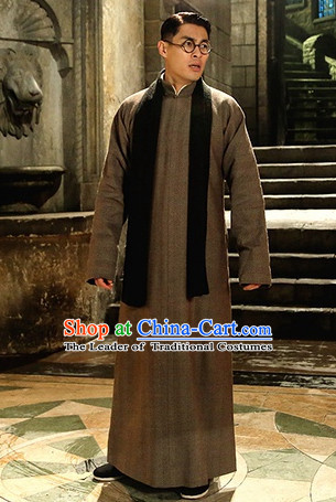 Chinese Minguo Time Mandarin Long Robe Complete Set for Men