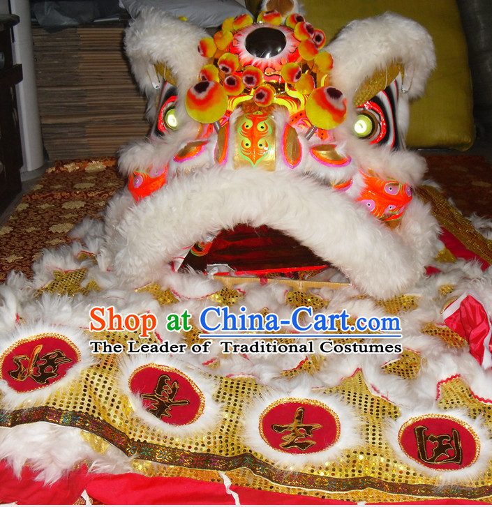 Top Gold Color White Wool Competition and Parade Lion Dancing Instruments Complete Set