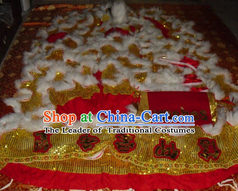 Gold Color White Wool Top Asian Chinese Lion Dance Pants Claws Tail Body Costumes Set