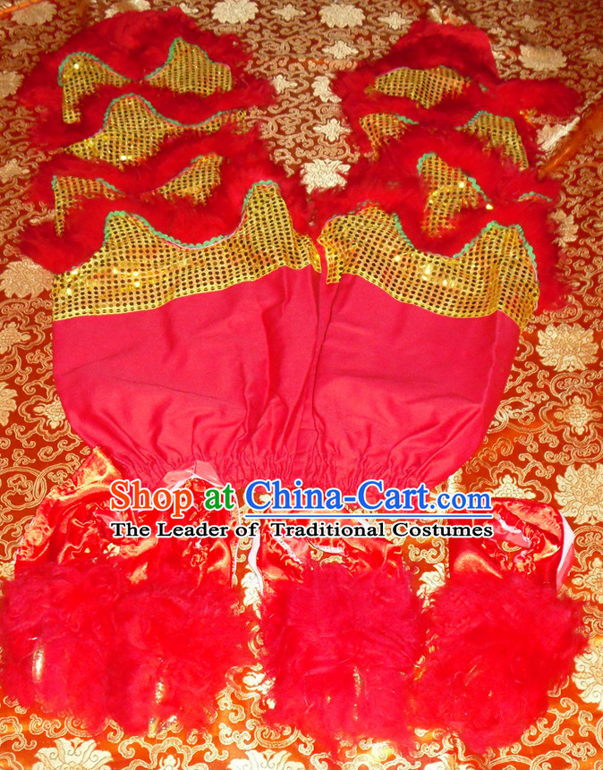 Gold Color Red Wool Top Asian Chinese Troupe Performance 2 Pairs of Lion Dance Pants and Claws