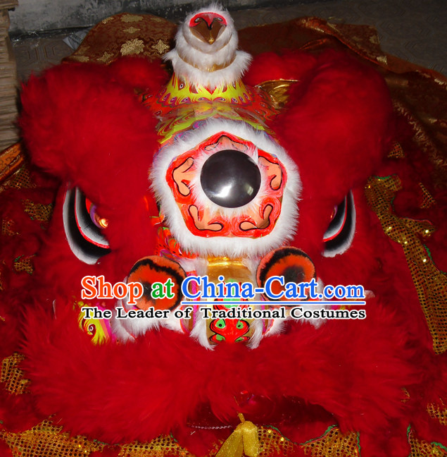 Top Gold Color Red Wool Competition and Parade Hok San Lion Dancing Costume Complete Set