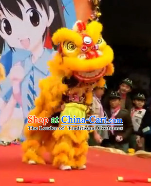 Gold Color Top 100_ Natural Long Wool Middle School Lion Dance Costumes Complete Set for Kids Children Boys Girls
